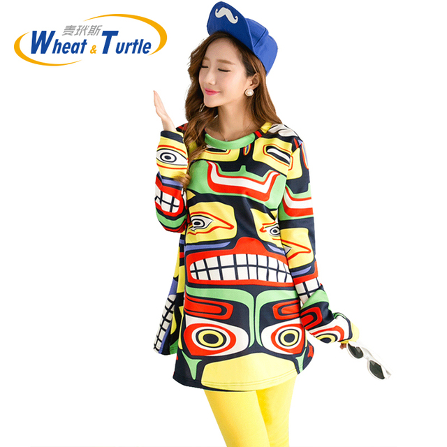 2016 Hot Sale Colorful Cartoon Abstract Maternity Dress All Match Fashion Cotton Colorful Graffiti Top Wear For Pregnant Women