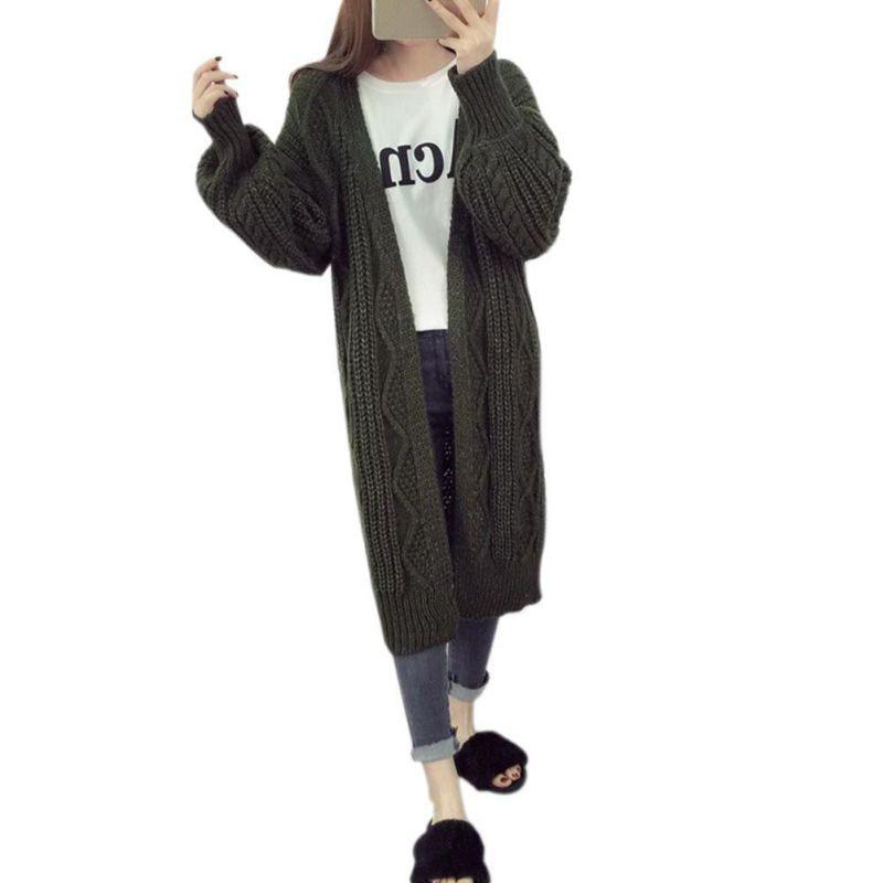 Women Long Style Poncho Lantern Sleeve Open Stitch Knit Sweater V neck Oversized Cardigans Coat H7