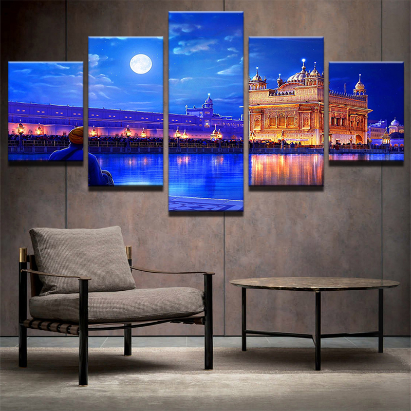 Trusted Home Painting Services In India: Printed Modular Picture Large Canvas Painting 5 Panel