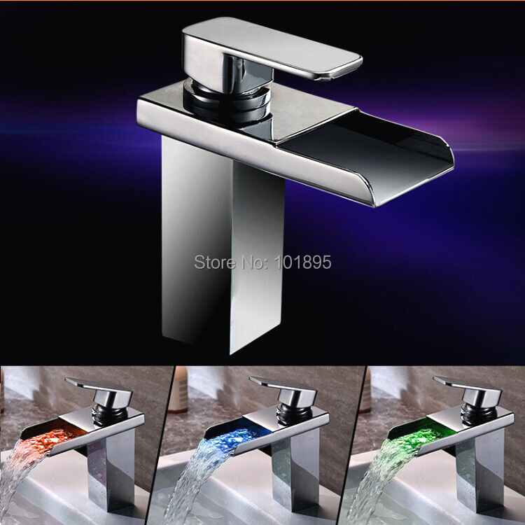 L15152 - Luxury Deck Mounted Chrome Finish Brass Led Faucet jomoo deck mounted brass chrome finish