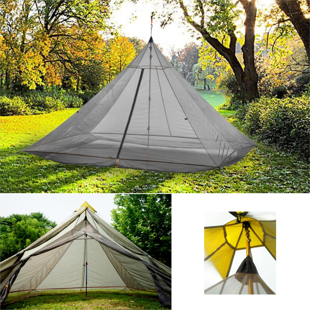 620g Ultralight Camping Inner Tent 4 Persons 3 Seasons 40D Nylon Breathable Mesh Rodless Octagonal Pyramid Bottomless Large Tent