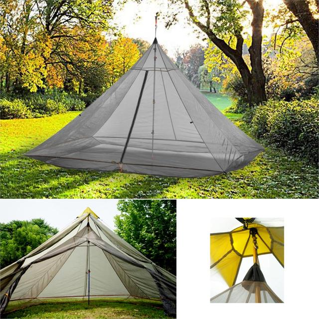 620g خفيفة التخييم خيمة الداخلية 4 أشخاص 3 مواسم 40D النايلون تنفس شبكة خالية يغرق مثمنة الهرم قعر خيمة ضخمة
