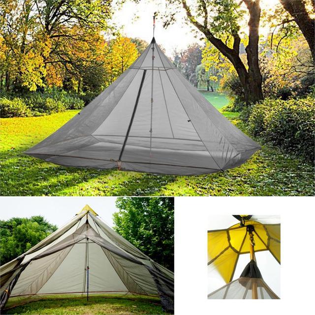 Tente intérieure de Camping ultralégère, grande tente en Nylon pour 4 personnes, 3 saisons, 40D, en maille respirante, sans fil, octogonale, pyramide, 620g