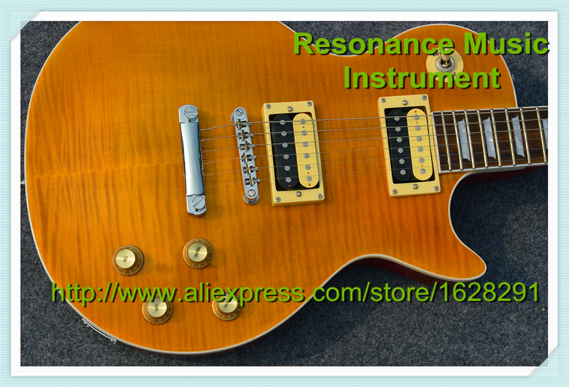 Custom Shop Yellow Tiger Flame Finish LP Standard Electric Guitar In Stock For Sale