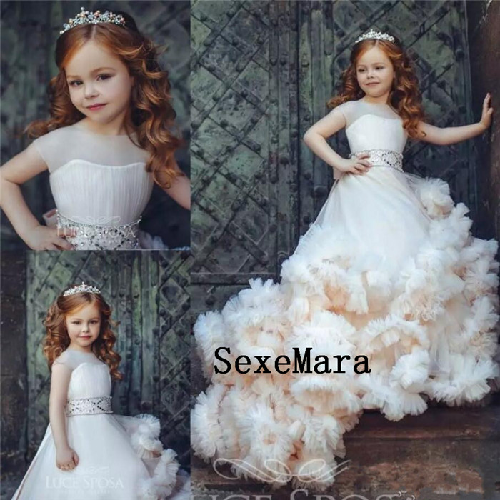 New Arrival Ruffled Flower Girl Dresses Special Occasion For Weddings Pleated Kids Pageant Gowns Tulle First Communion DressNew Arrival Ruffled Flower Girl Dresses Special Occasion For Weddings Pleated Kids Pageant Gowns Tulle First Communion Dress