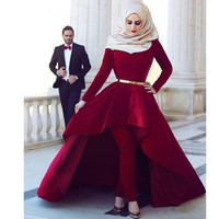 Burgundy Muslim Evening Dresses 2019 Ball Gown Long Sleeves Velvet Sash Islamic Dubai Saudi Arabic Long Formal Evening Gown Prom