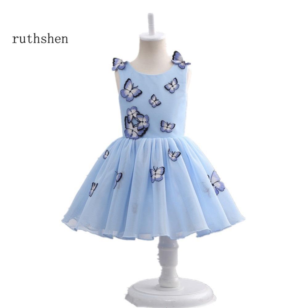 ruthshen 2018 New Flower Girl Dresses Butterfly Light Blue Real ...