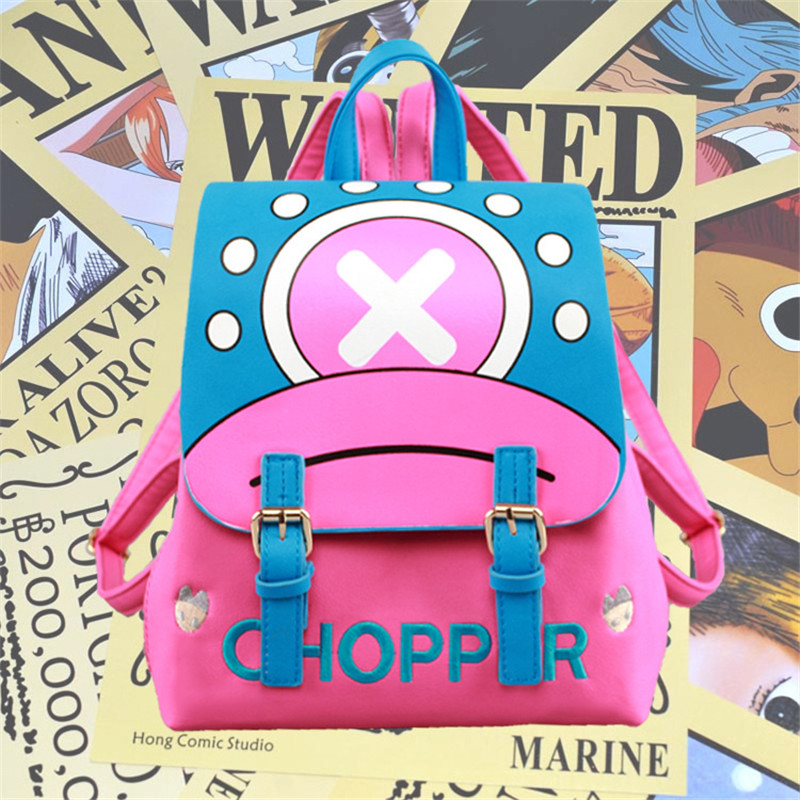 Japan Anime One Piece Chopper Deer Designer Cartoon Women Girls Pu School Book Bag Rucksack Backpack Gift
