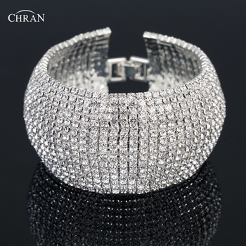 Chran Dazzling Bridal Wedding Bracelet Bangle Rhinestone Crystal Wide Chain Bracelet Bridemaid Wedding Jewelry Gifts CRB706 bangle