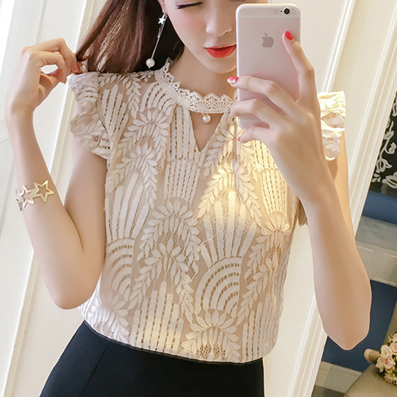 2019 Women clothing Summer floral O-neck Lace Shirts women Tops hollow out female Elegant short-sleeve Lace Blouses shirts 587H3