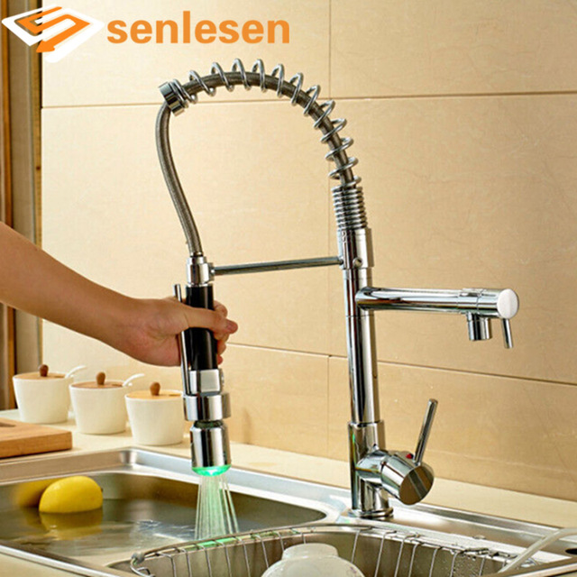 Wholesale And Retail Luxury Chrome Brass Kitchen Faucet LED Spout Swivel  Sprayer Vessel Sink Mixer Tap