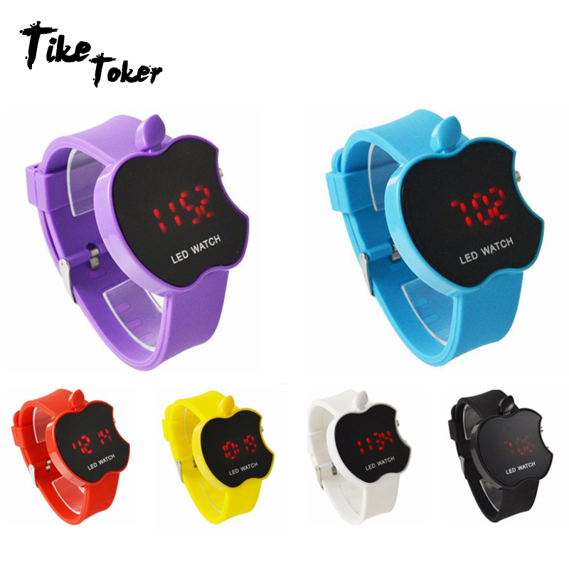 TIke Toker,LED Women's Watch Fashion Apple Shaped Colorful Silicone Geneva Watch Clock Women's Sports Watch Relogio Feminino