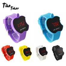 Tie Toker Ladies LED Women's Watch Fashion Apple Shaped Color Silicone Genève Watch Clock Women's Neutral Sports Watch 0313