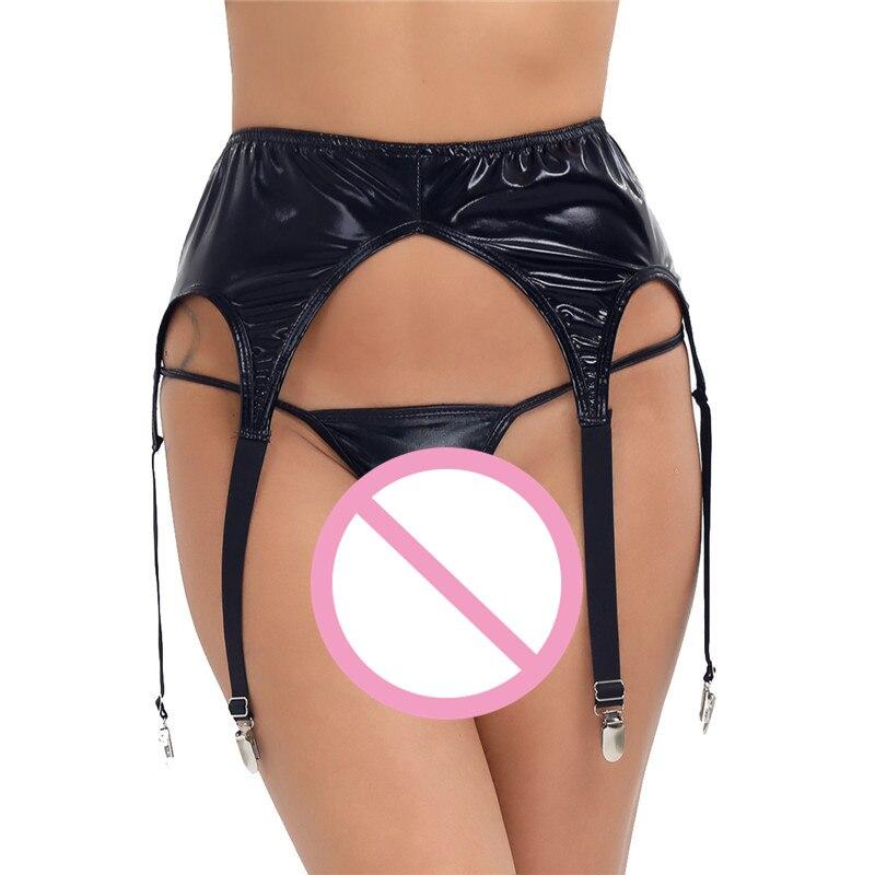 0b42b7ebb MSemis mujeres Sexy ligas para medias cinturón Wetlook cinturón con bragas  Tanga entrepierna abierta de cuero bragas Clip de la Liga