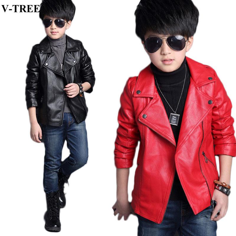 Winter Children Outerwear PU Jackets For Boys Leather Parkas For Girl Teenager Windproof 3-12T Baby Windbreaker Kids Coats