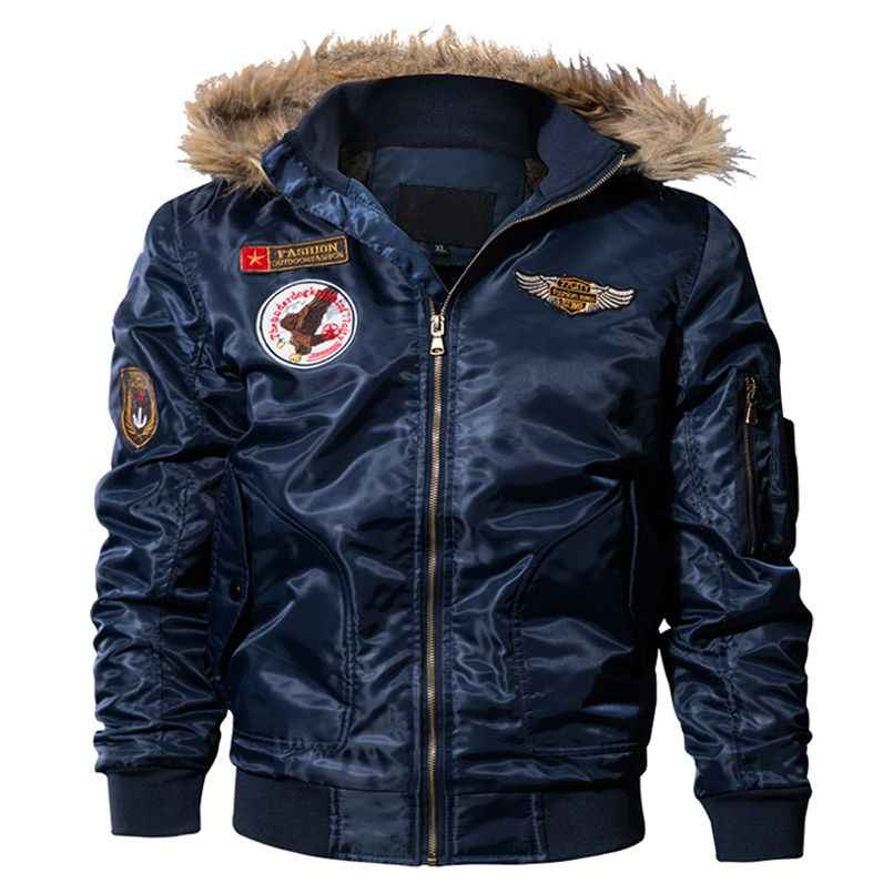 Los hombres piloto chaqueta militar del ejército de vuelo de la motocicleta Chaquetas Parkas acolchado prendas de vestir exteriores