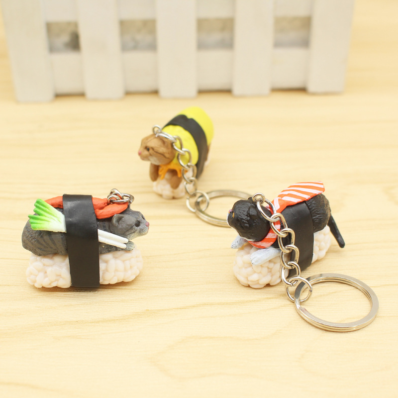 1pc Cartooon Personality Cat And Sushi Men 's Keychain Car Auto Keyring Metal Keychain Key Ring Pendant Silverware Random Color