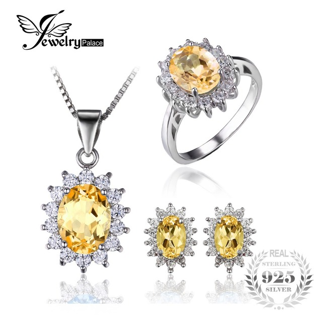 Jewelrypalace diana estilo natural citrino anel pingente brinco set jóias pure 925 sterling silver conjunto de jóias finas