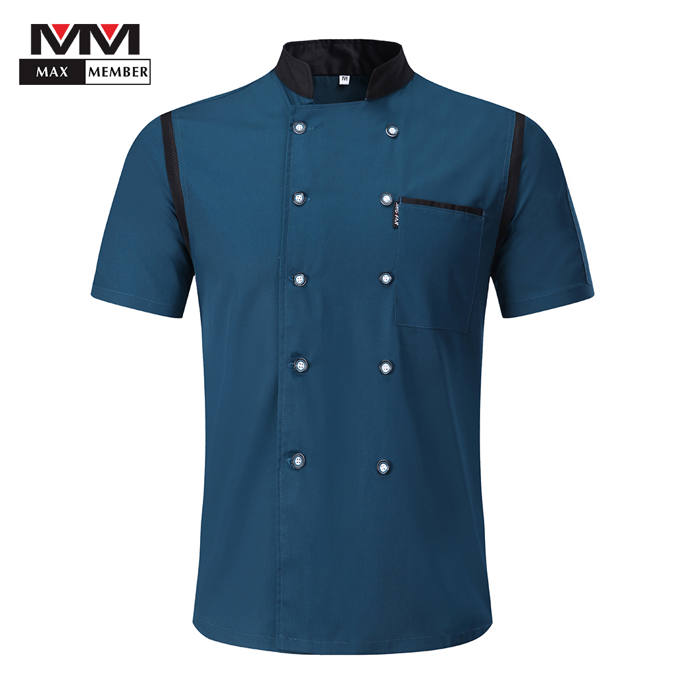 Men Women Mesh Patchwork Breathable Chef Jackets Double Breasted Catering Restaurant Kitchen Work Clothes Waiter Uniforms Aprons