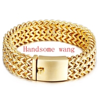 New Hot Sale Yellow Gold 98g Jewelry 316L Stainless Steel Charming Handsome Men Figaro Chain Bracelet 23cm*18mm High Quality