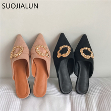 SUOJIALUN 2019 Women Brand Mules Slippers Ladies Casual Shoes Slip On Slides Fahion Metal Buckle Mules Pointed Toe Low Heel Sand недорого
