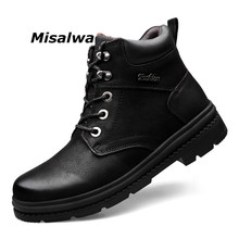 Misalwa Retro 2019 Winter Men Snow Boots Split Leather Brand Warmest Father Ankle Big Size 37-47 Plush Man Casual Shoes