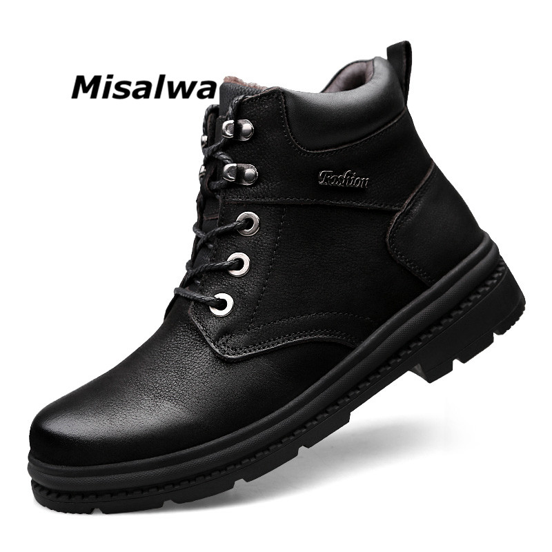 Misalwa Retro 2019 Winter Men Snow Boots Split Leather Brand Warmest Father Ankle Boots Big Size 37 47 Plush Man Casual Shoes