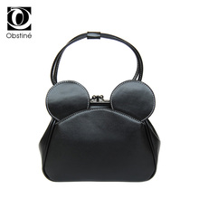 Limited sale Fashion new  High quality PU leather Women bag Mickey Big Ear Shell Sweet bow Chain Shoulder Female bag