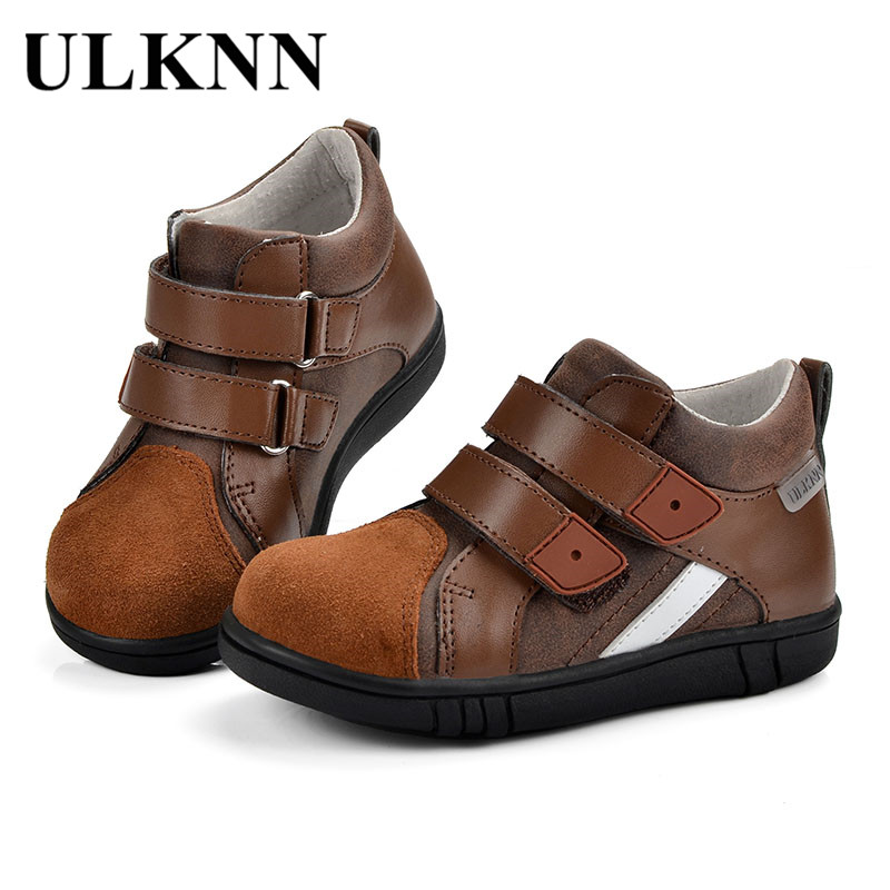 ULKNN Boys Shoes Children Retro Casual Shoes Kids For Boys Genuine Leather Soft Anti-Slippery Breathable infantil tenis menino a suit of elegant rhinestone water drop necklace and drop earrings for women