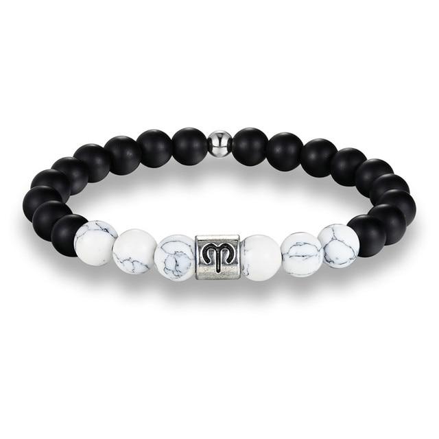 12 Zodiac Signs Matte & Howlite Stone Beaded Bracelets