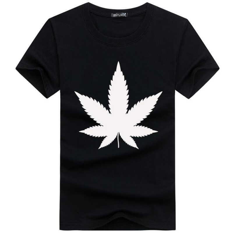 Funny T shirts Men Summer Fashion 7 leaf grass Printed Tshirt Casual Short Sleeve O-neck T-shirt Cotton Tops Tees plus size 5xl