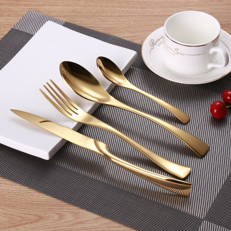 4pcs Set Gold Plate Cutlery Set Stainless Steel Western