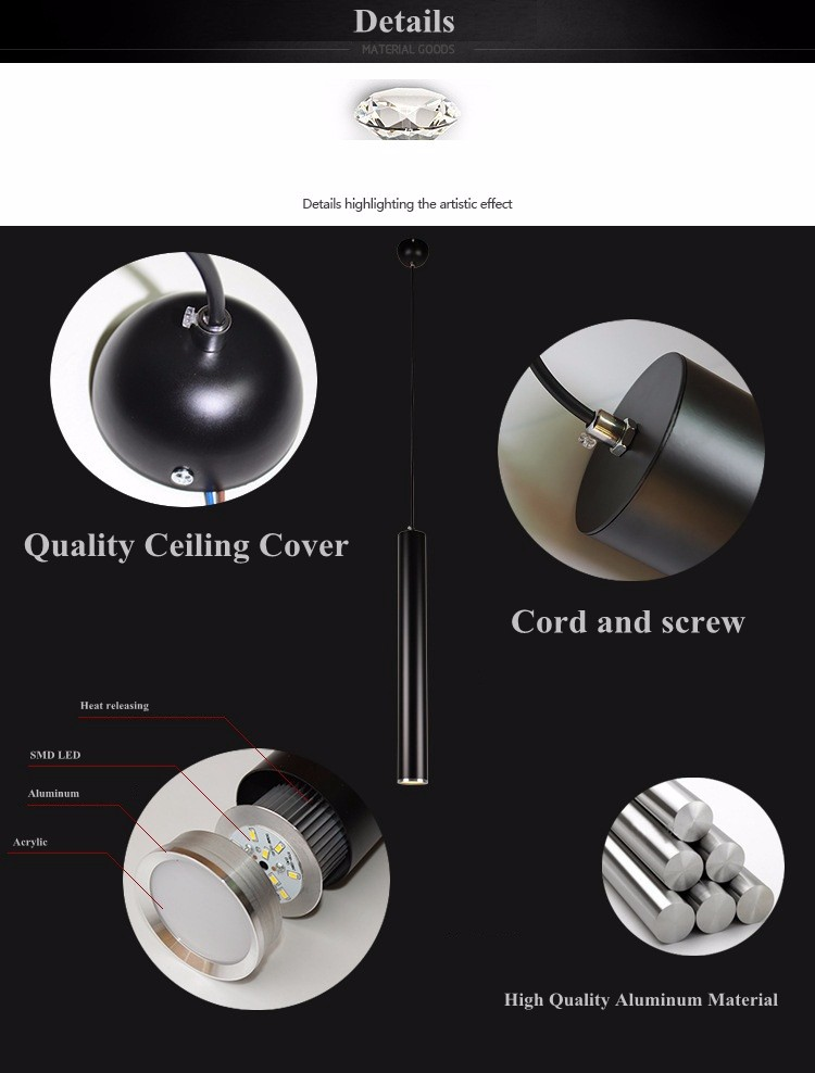 Aluminum long pillar pendant light (8)