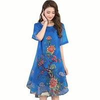 Women Summer Floral Print Chiffon Dress 2018 Female Arrival Casual O Neck Short Sleeve Boho Dresses
