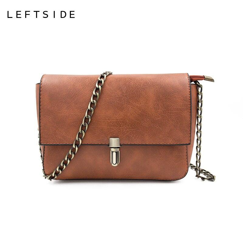 LeftSide Мода 2017 г. Clain замок Для женщин сумка кошелек простые маленькие кожа Сумки дамы Курьерские сумки Винтаж известный