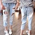 2017 Моды девушка летом рваные джинсы брюки с отверстием baby дети полым из одежды джинсовые брюки elstic ребенка детей брюки