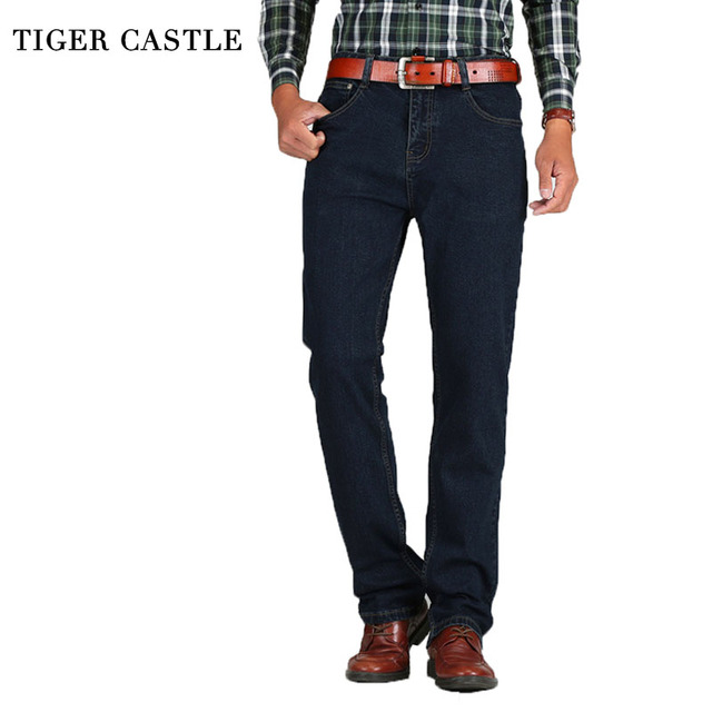 TIGER CASTLE Thick Winter Stretch Jeans Men Classic Solid Male Denim Straight Pants Casual Cotton Overalls Men Long Trousers