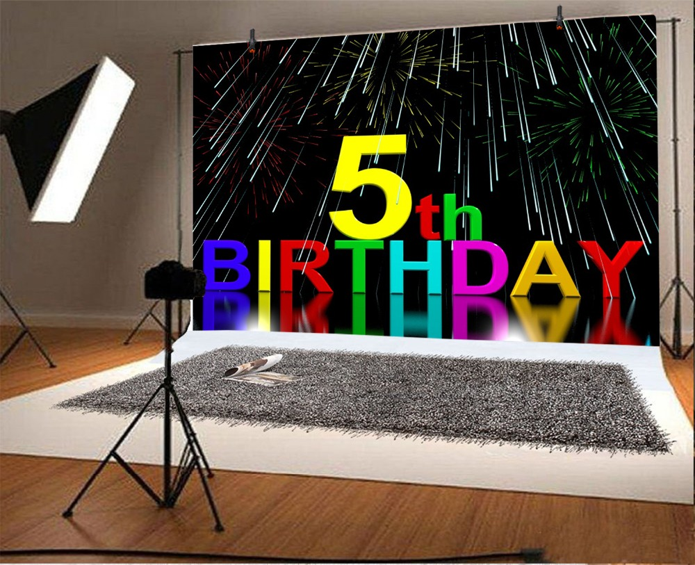 Laeacco Meteor Shower 5th Birthday Baby Child Photography Background Customized Photographic Backdrops For Photo Studio