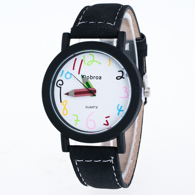 MINHIN New School Quartz Watches Fashion Casual Women Children Leather Watch Pencil...