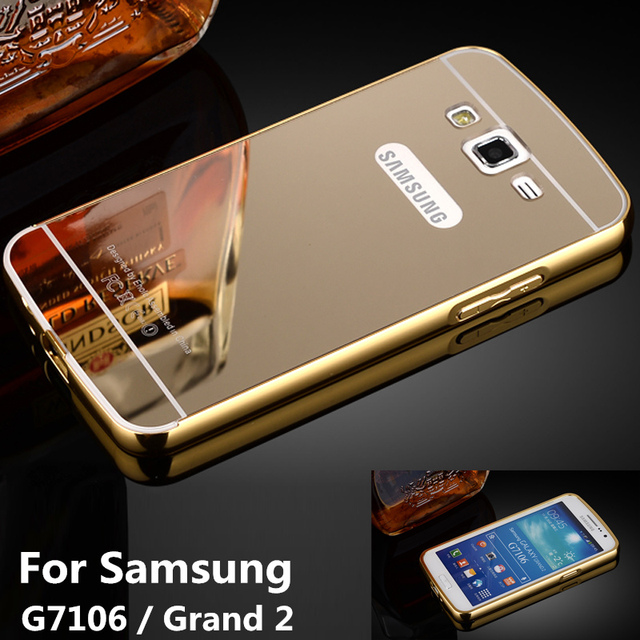 huge selection of b7775 872ee G710 Case for Samsung Grand2 G7102 Bumper Aluminum Frame + Mirror Acrylic  Back Cover for Galaxy Grand 2 Duos SM 7102 710 Cases