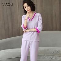 Fashion SPA Uniform Custom Made purple Massage Workwear Beauty Uniforms Sets Spring/Summer Latest Work Clothing 2 Colors V Neck
