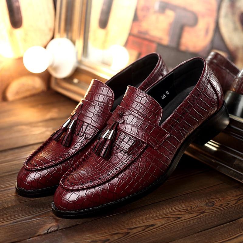 Мужские туфли на плоской подошве из крокодиловой кожи с бахромой слипоны туфли-оксфорды для мужчин брендовые кожаные мужские модельные туф...