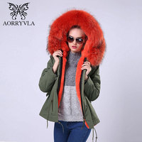 AORRYVLA 2017 Winter Fur Jacket Women Short Army Green Raccoon Fur Collar Hooded Parka Detachable Liner