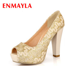 ENMAYER  Sexy Round Toe Sequined Cloth High Heels Women Pumps Shoes Party PUMPS Brand New Design Less Platform