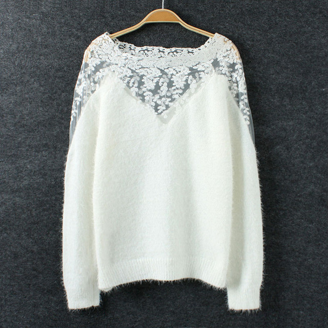 Extrêmement Noir blanc hiver garder au chaud femmes pull Mohair chandail  IW26