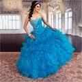 Moda romántica Vestidos de 15 años Debutante vestido con rebordear Apliques de Organza Azul Vestidos de Quinceañera