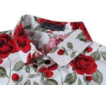 New Men'S Casual shirt  Long sleeve shirt men Rose Flower pinted shirt  Turn-down Collar Floral shirt men