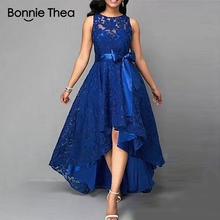 Bonnie thea Summer Womens Sleeveless Lace Dress Blue Large Size Party with Elegant 5xl