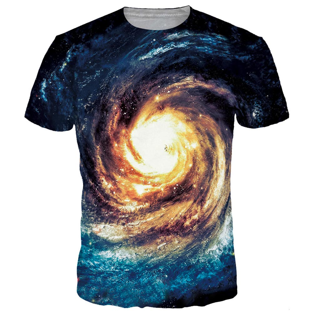 Space Galaxy T-shirt Men/Women 3d T shirt Print Golden Nebula Whirlpool T-shirt Fashion Brand Tops Tees