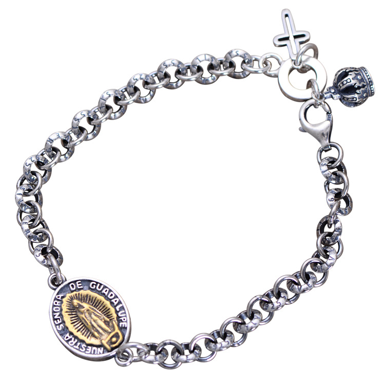 S925 Sterling Silver Bracelet Virgin Mary Maria Seiko Men Women Lovers Bracelet Chain Retro Thai Silver with Crown Cross Charm